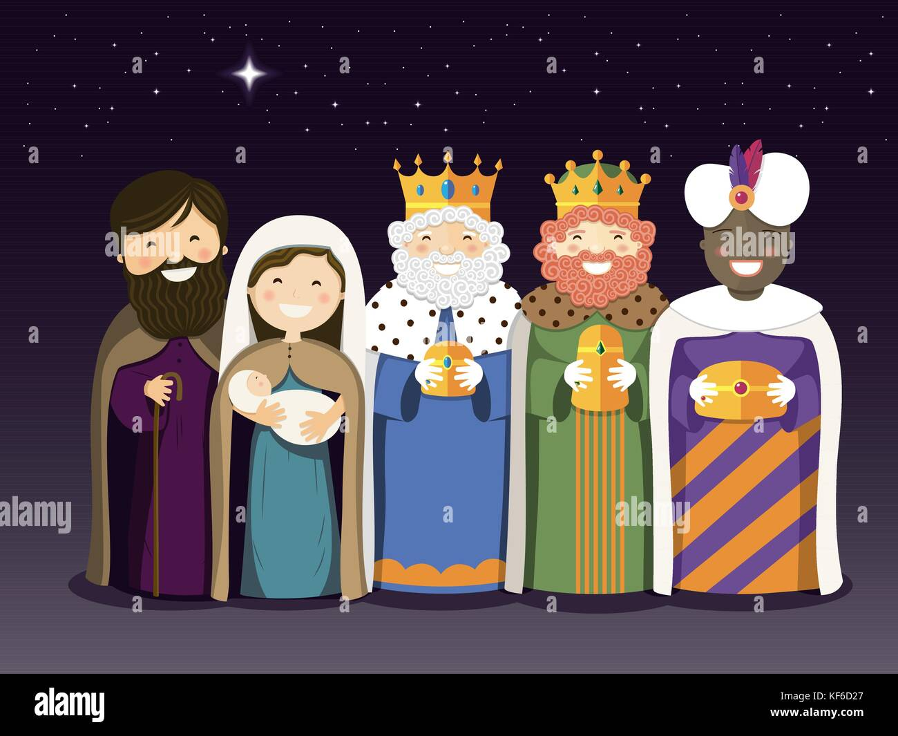 The Three Kings and Holy Family on the Epiphany day. Vector ilustration - Stock Vector