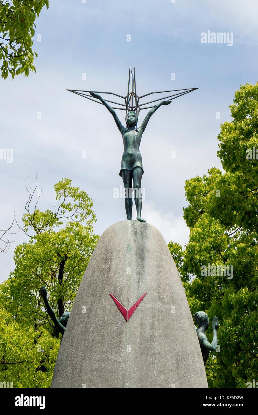 Hiroshima, Japan - May 25, 2017:  Children's Peace Monument, designed by Kazuo Kikuchi and Kiyoshi Ikebe in - Stock Image