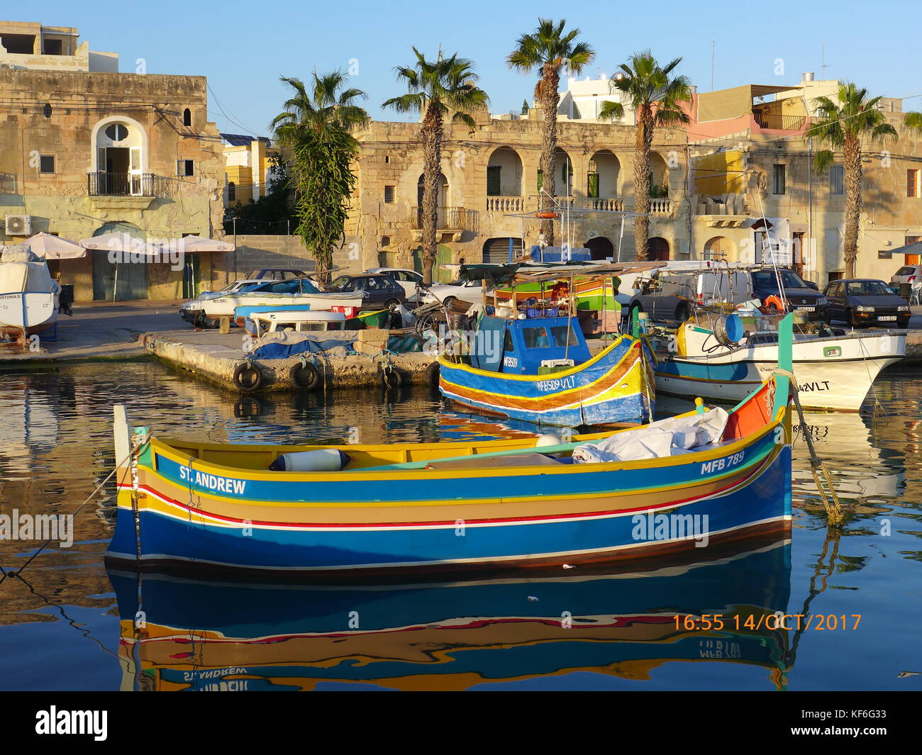 Traditional Maltese wooden fishing boats.anchored at Marsaxlokk, Birzebbuga, Senglea  & Xlendi, Gozo. Malta. - Stock Image