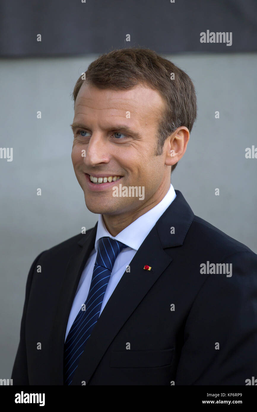 Paris, France. 25th Oct, 2017. French President Emmanuel Macron visits the University Paris Saclay for the inauguration Stock Photo