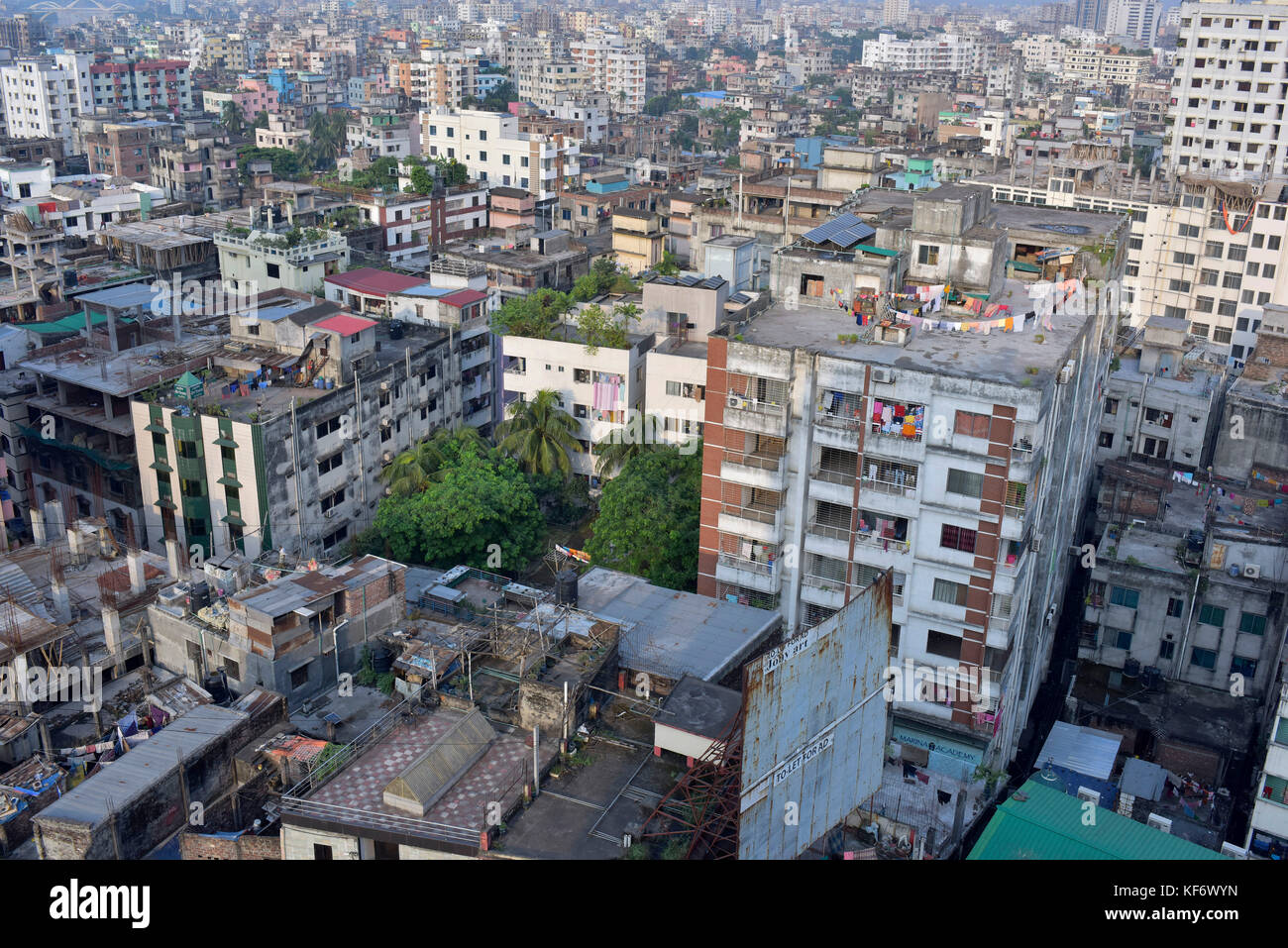 Dhaka, Bangladesh. 26th Oct, 2017.  Birdseye view of the Dhaka Metropolitan city. Dhaka, a city of over 15 million - Stock Image