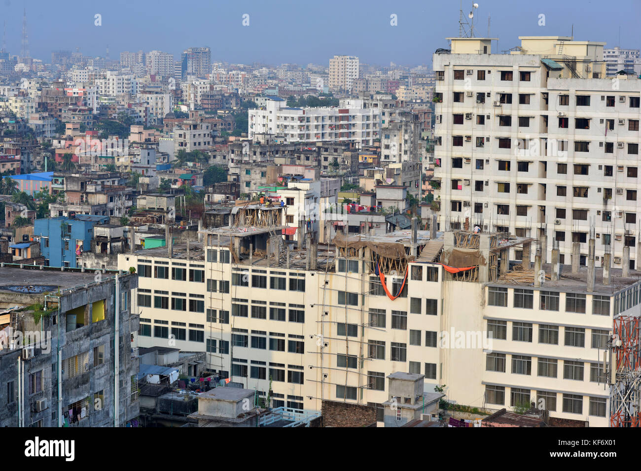 Dhaka, Bangladesh. 26th Oct, 2017.  Birdseye view of the Dhaka Metropolitan city. Dhaka, a city of over 15 million - Stock Image