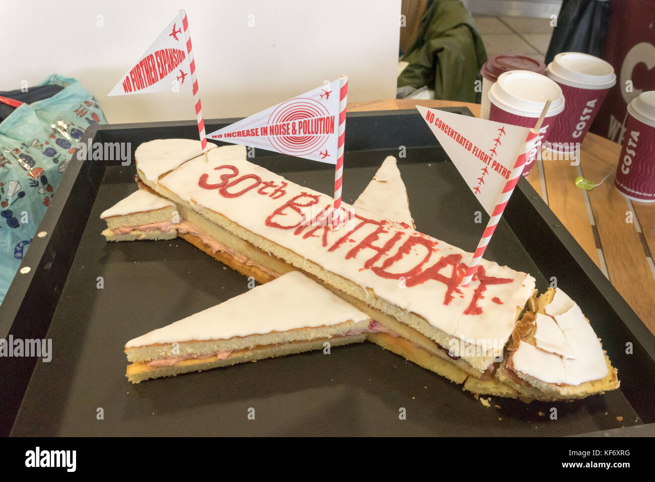 26th October 2017 The 30th Birthday Cake That HACAN East Campaigners Dressed As Bakers Are About To Deliver London City Airport On Its Anniversary