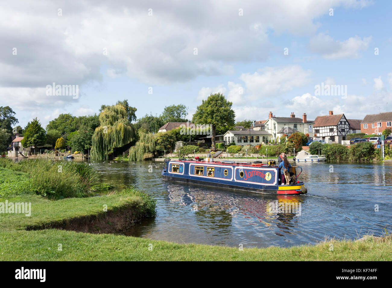 Canal boat on River Avon, The Big Meadow, Bidford-on-Avon, Warwickshire, England, United Kingdom Stock Photo