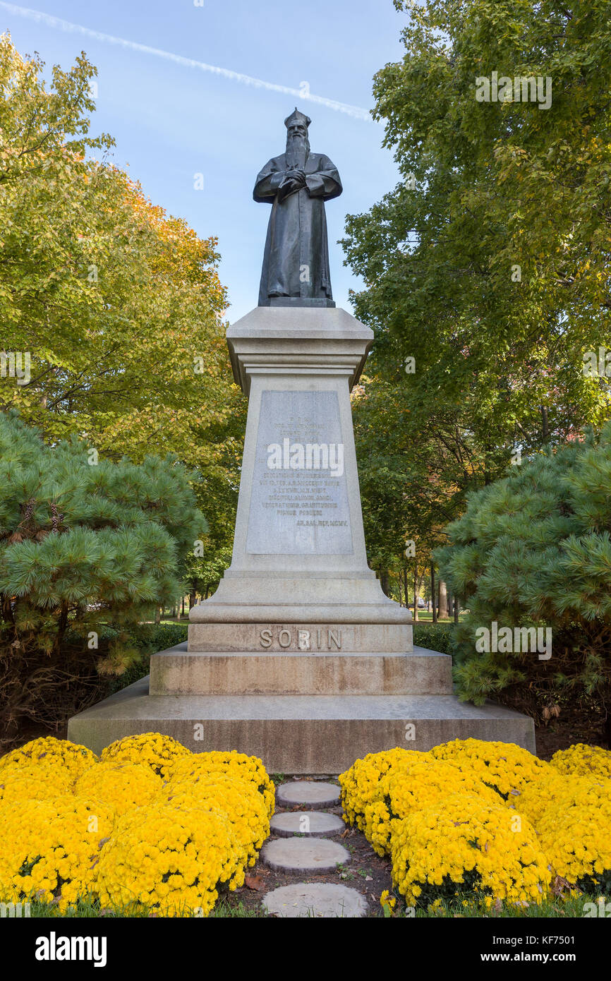 NOTRE DAME, IN/USA - OCTOBER 19, 2017: Edward F. Sorin Statue  on the campus of Notre Dame University. - Stock Image