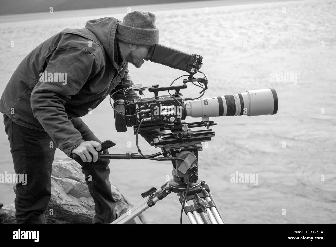Nick Sevander, DP. working with the Phantom 4K high speed videw camera for some specialized slow motion video of - Stock Image