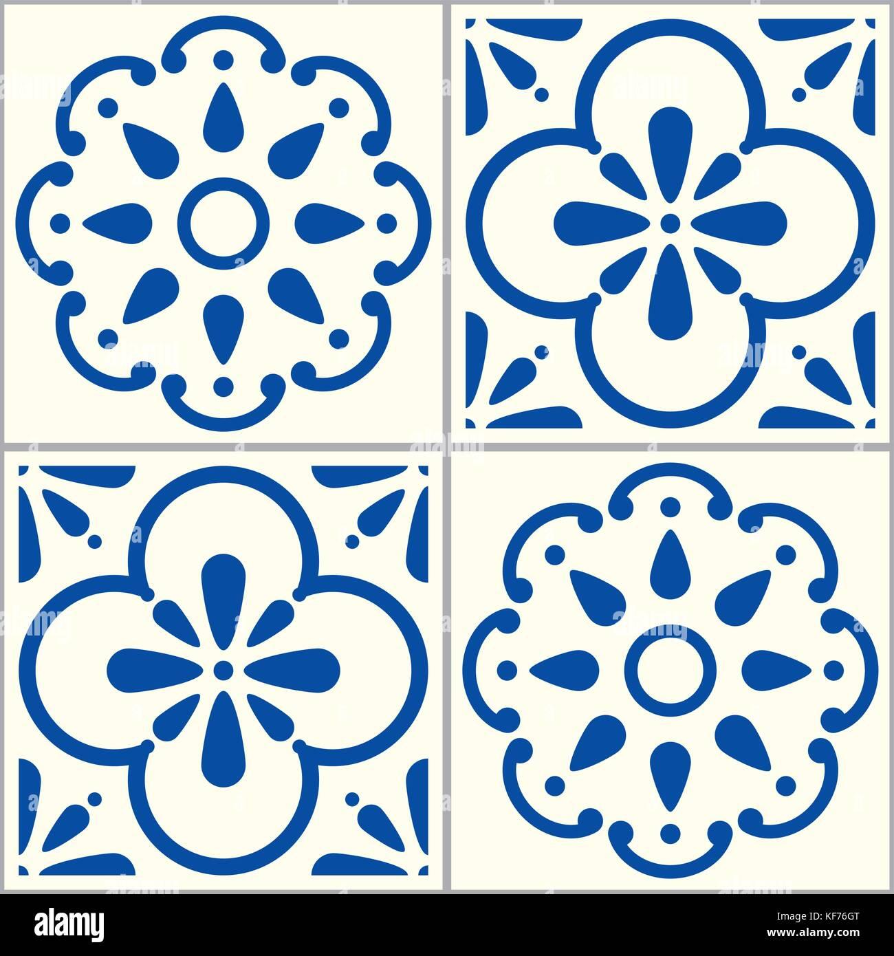 Azulejos Portuguese vector tiles pattern, Lisbon seamless indigo blue tile design set, Spanish vector background - Stock Vector