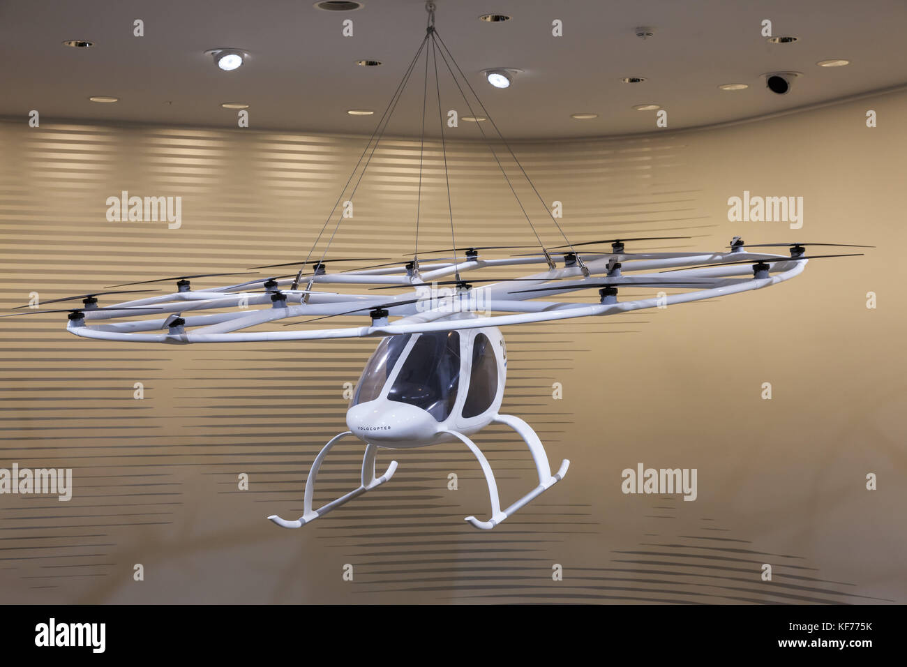 Frankfurt, Germany - Sep 20, 2017: Volocopter - an  electric multirotor helicopter from a german company e-volo. - Stock Image