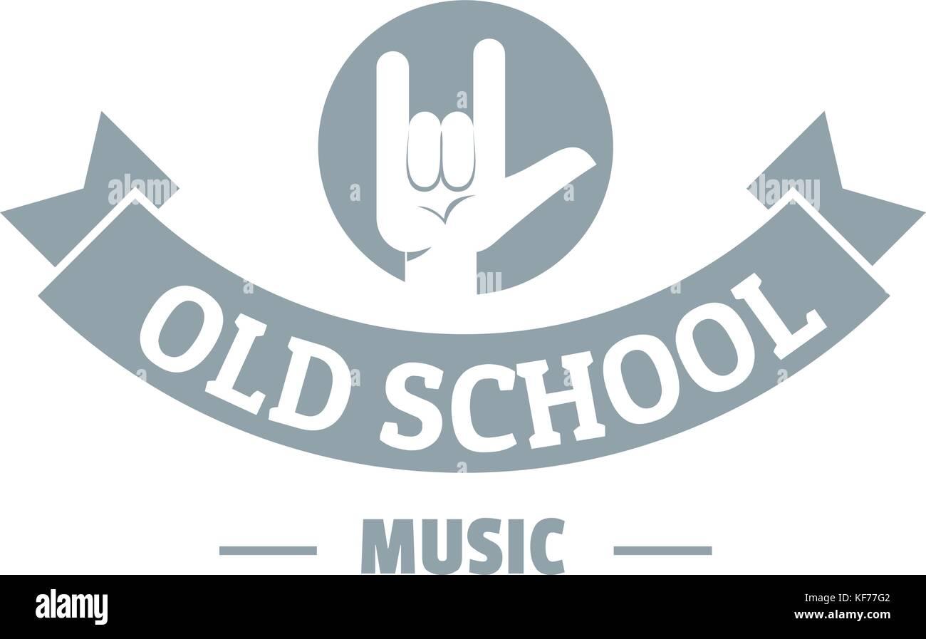 Old school music logo, simple gray style Stock Vector Art