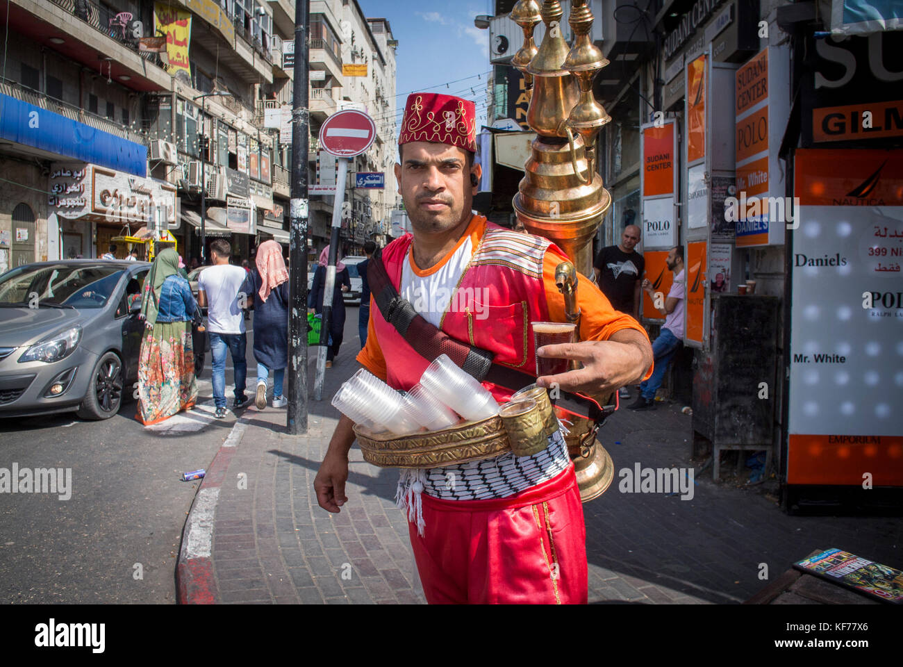Serving Tea and Coffee  on the Street in Ramallah, Palestine. Stock Photo