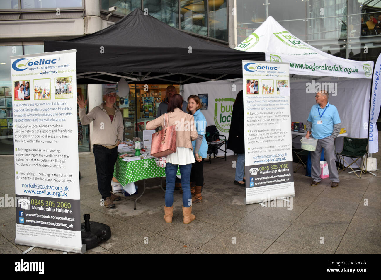 Gluten free food fair outside the Forum, Norwich, October 2017 - Stock Image