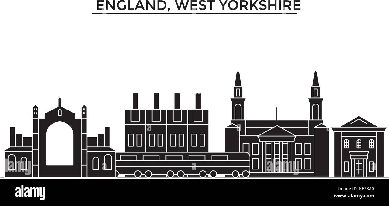 England, West Yorkshire architecture vector city skyline, travel cityscape with landmarks, buildings, isolated sights - Stock Vector