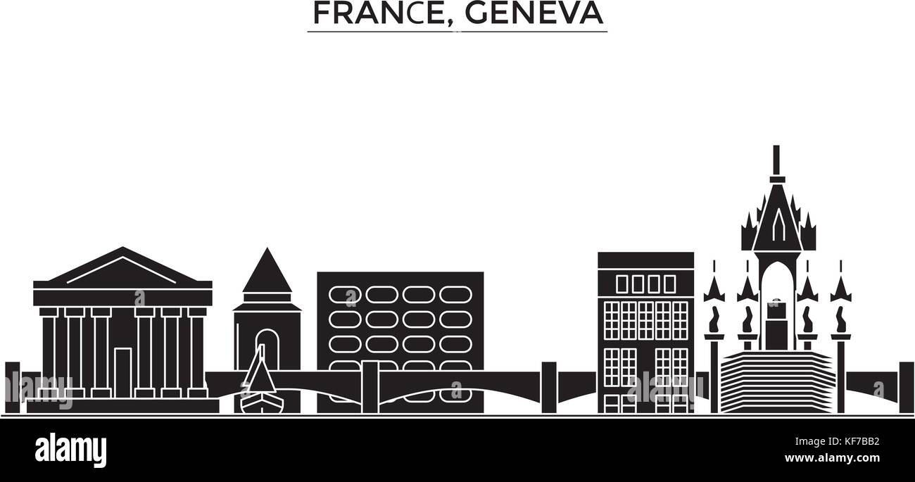 France, Geneva architecture vector city skyline, travel cityscape with landmarks, buildings, isolated sights on - Stock Vector