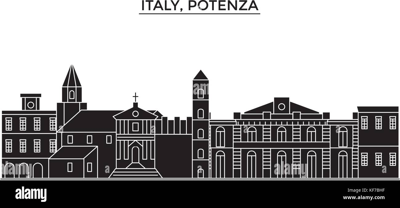 Italy, Potenza architecture vector city skyline, travel cityscape with landmarks, buildings, isolated sights on - Stock Vector