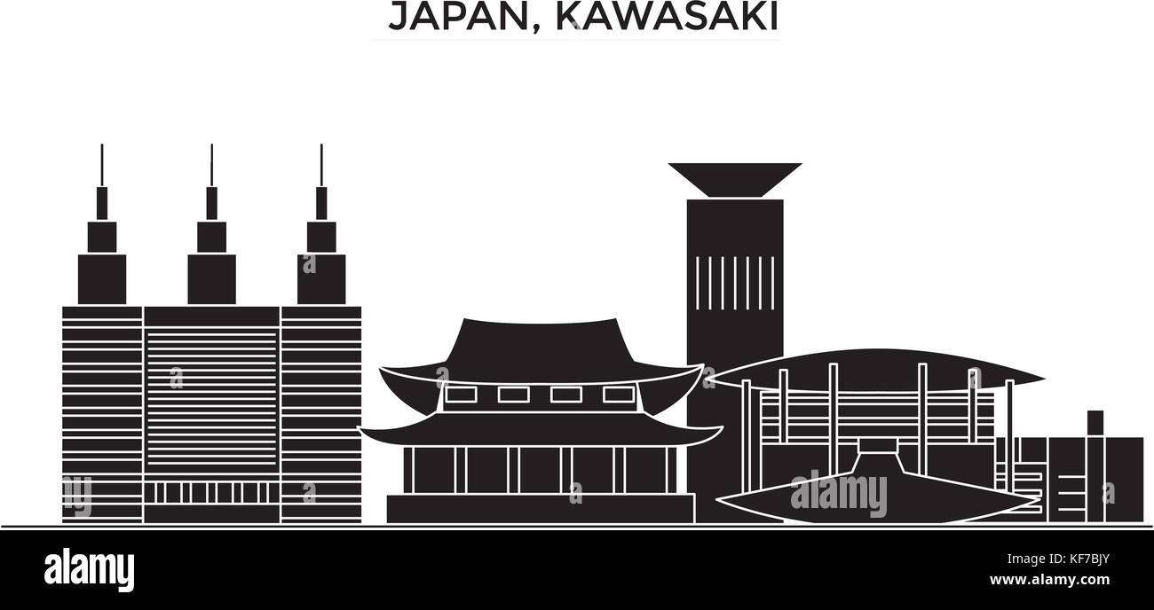 Japan, Kawasaki architecture vector city skyline, travel cityscape with landmarks, buildings, isolated sights on - Stock Vector