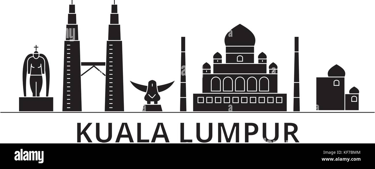 Kuala Lumpur   Malaysia architecture vector city skyline, travel cityscape with landmarks, buildings, isolated sights - Stock Vector