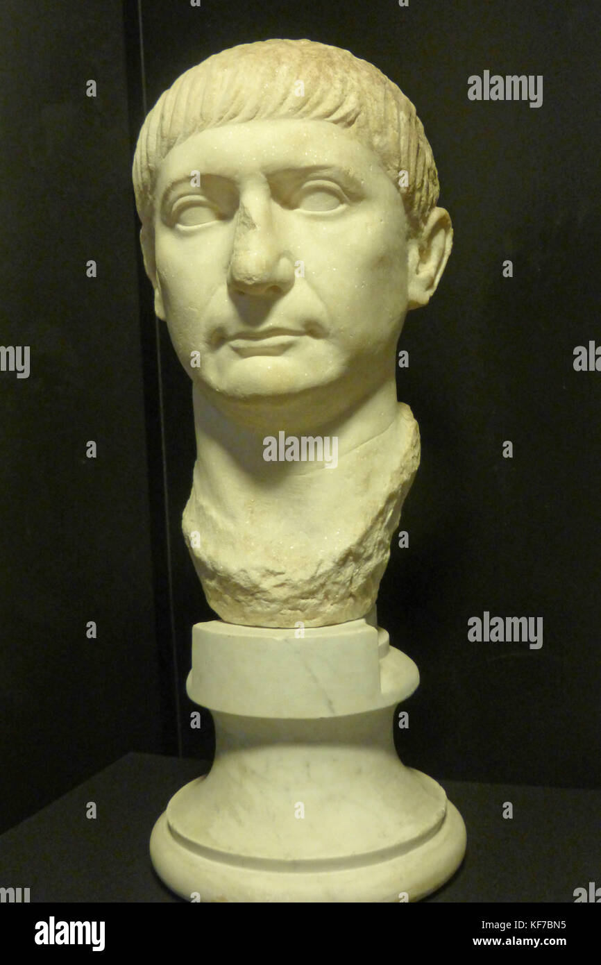 Sculpture portrait of the Roman Emperor, Trajan, early second century A.D. on display in the Archaeological Museum - Stock Image