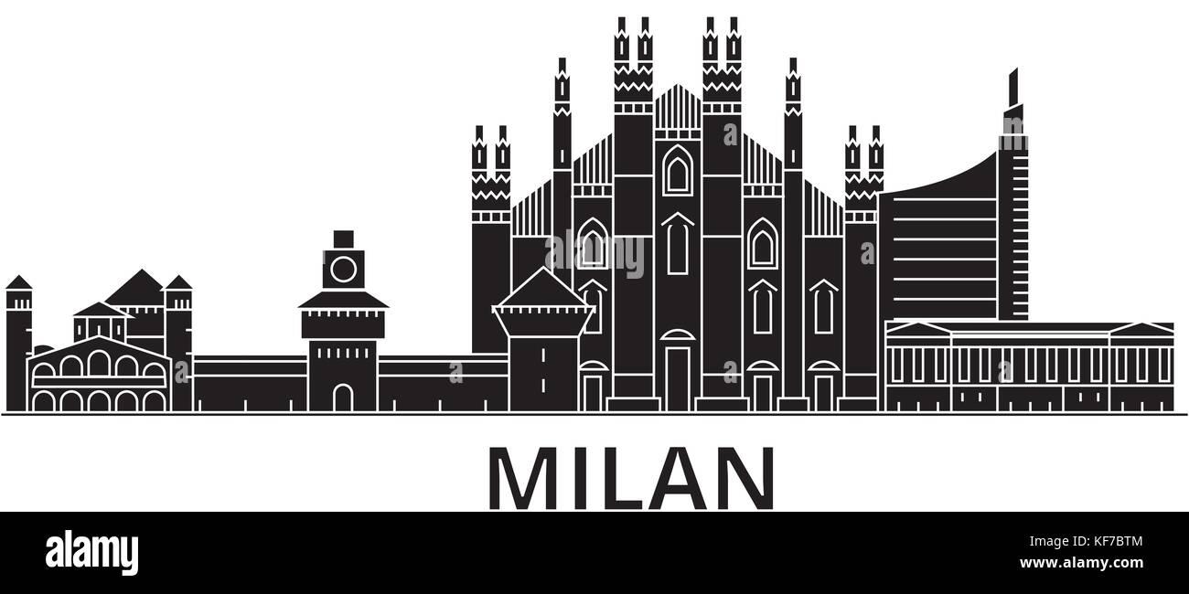 Milan architecture vector city skyline, travel cityscape with landmarks, buildings, isolated sights on background - Stock Vector