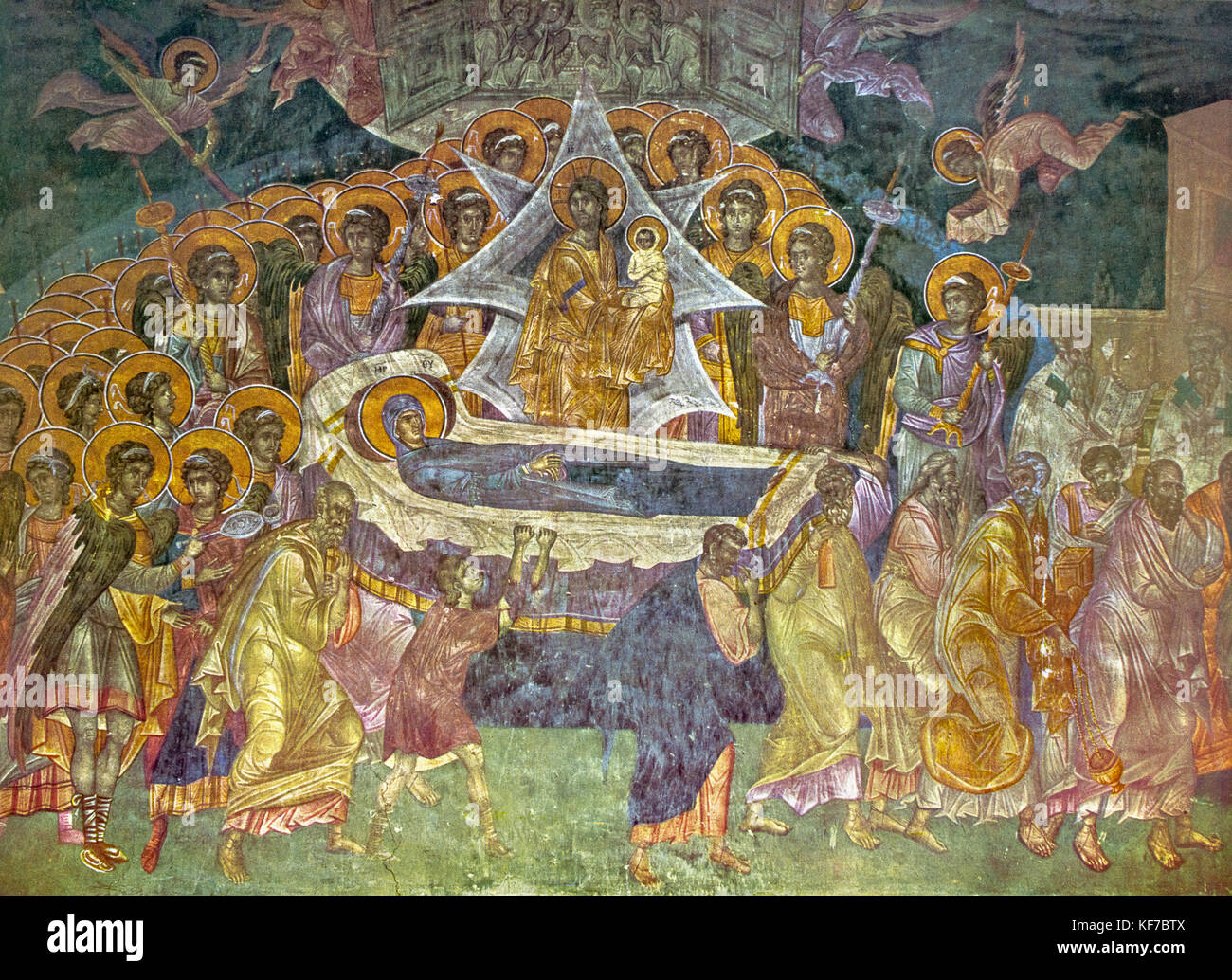 Serbia - Sopocani Monasteri -Dormition of the virgin - fresco 1265