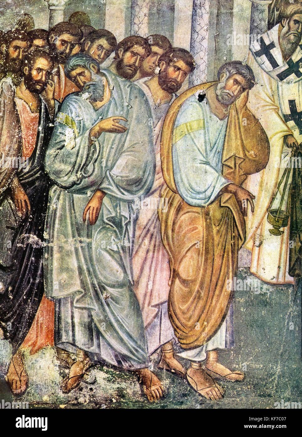 Serbia - Sopocani Monasteri -Dormition of the virgin - fresco 1265 . detail apostles - Stock Image