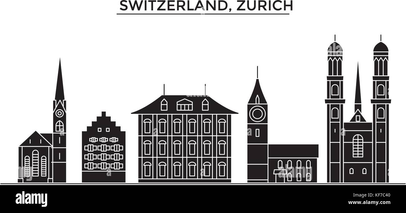 Switzerland, Zurich architecture vector city skyline, travel cityscape with landmarks, buildings, isolated sights - Stock Vector