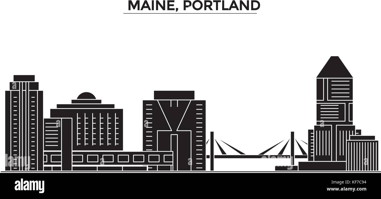 Usa, Maine, Portland architecture vector city skyline, travel cityscape with landmarks, buildings, isolated sights - Stock Vector