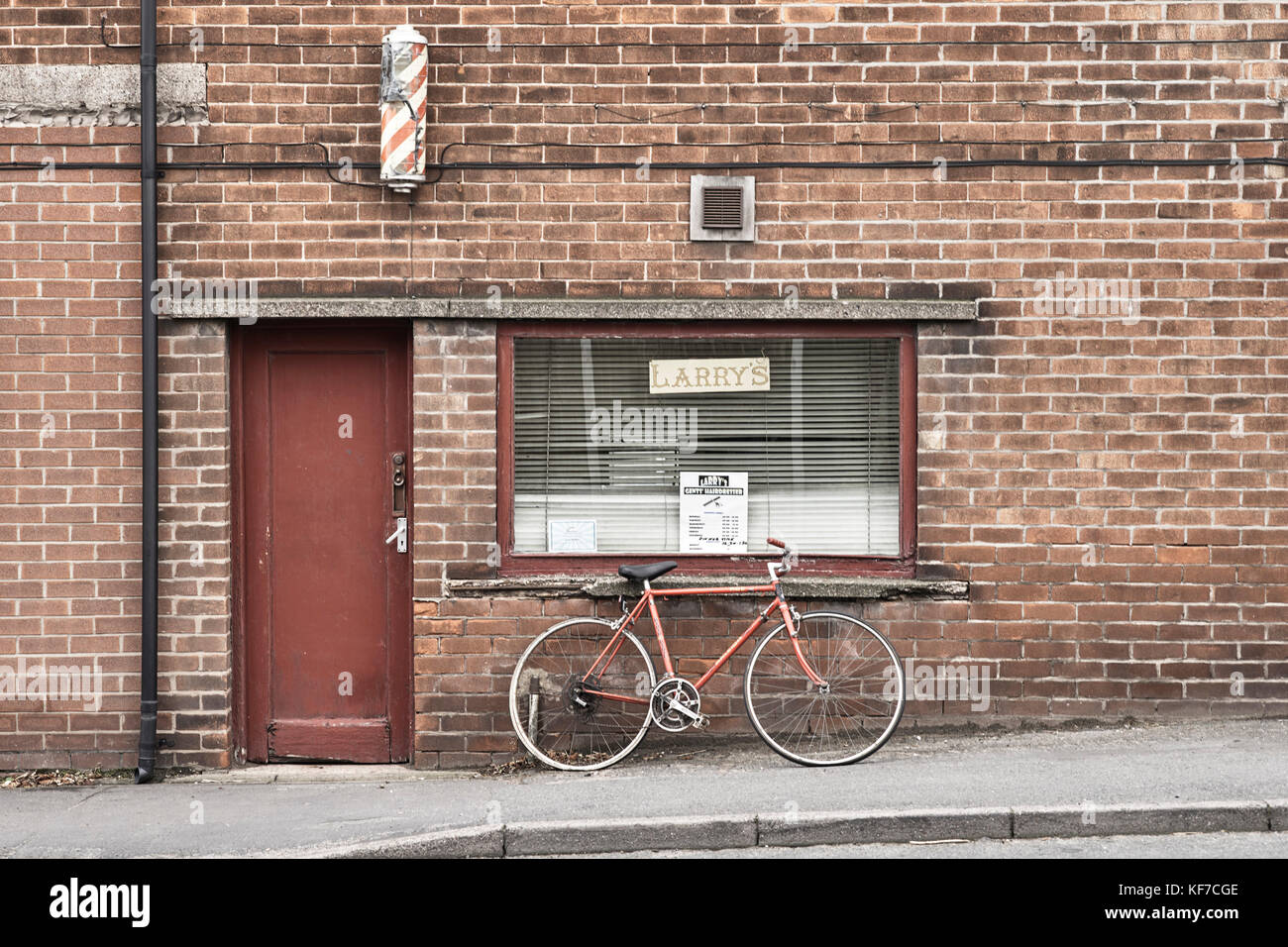 Larry's gents hairdressers at Middlewich - Stock Image