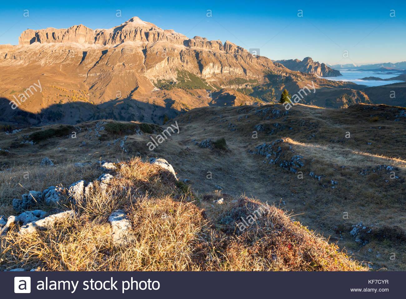 Sella group with the highest Piz Boè mountain in an autumn sunrise, Pordoi pass, Arabba, Beuuno, Veneto, Italy - Stock Image