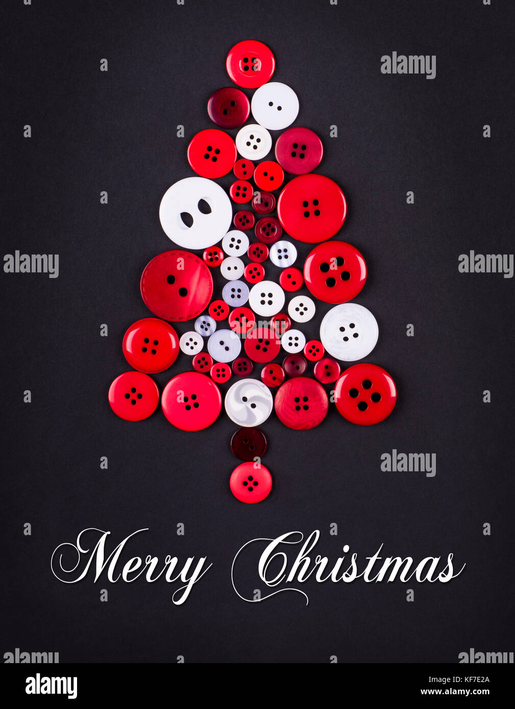 Unusual Christmas Tree Design, White And Red Buttons Tree Christmas  Background, Isolated On Dark Grey With Copy Space