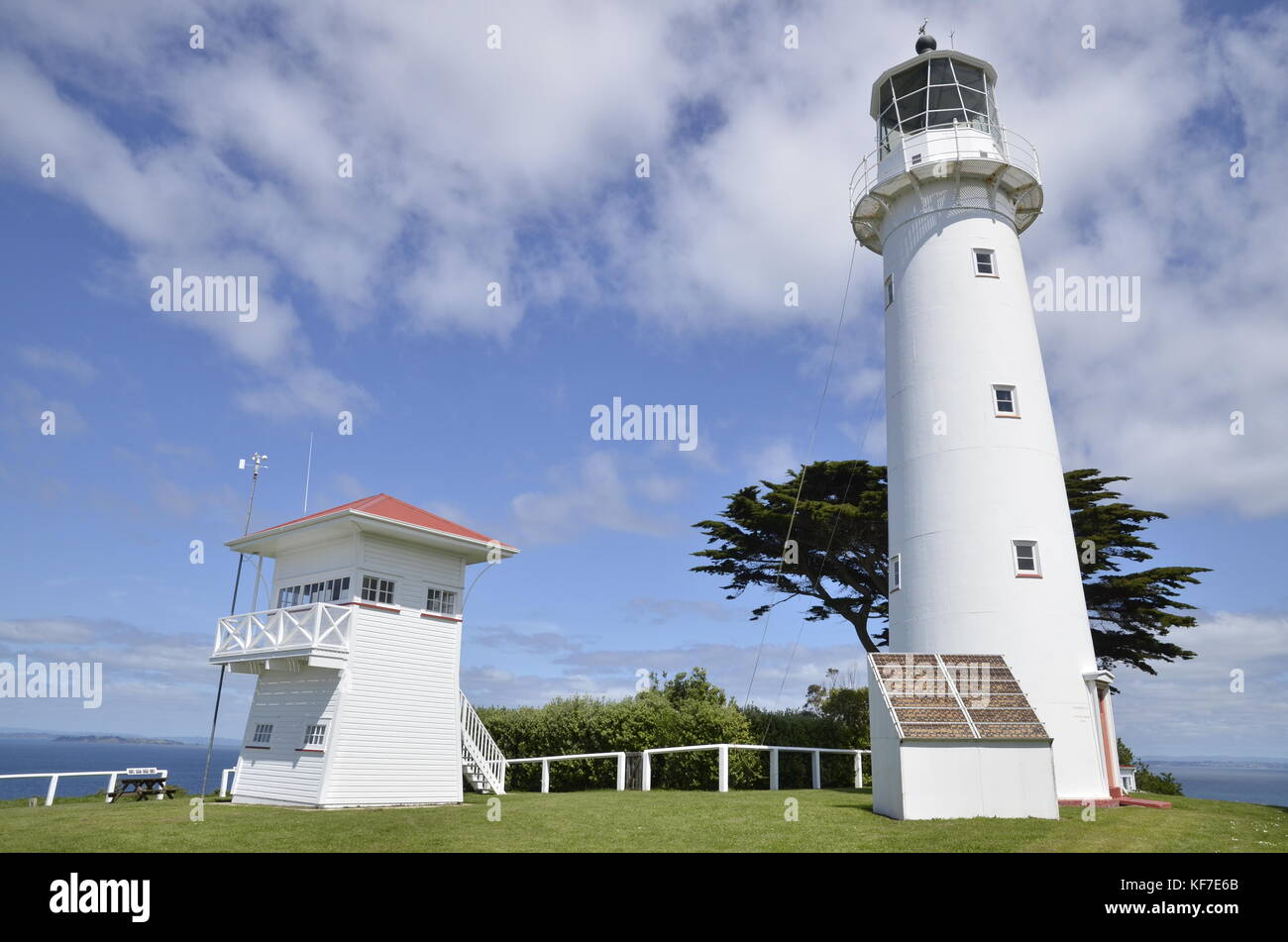 The lighthouse on the bird sanctuary and open nature reserve of Tiritiri Matangi in the Hauraki Gulf, north of Auckland - Stock Image