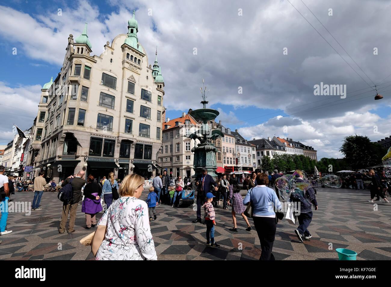 Denmark, Copenhagen, Stroget, Pedestrian street, Amagertorv - Stock Image
