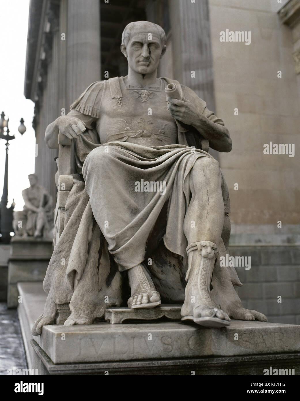 Julius Caesar (100 BC-44 BC). Roman politician and general. Statue. Exterior of Austrian Parliament. Vienna. Austria. - Stock Image