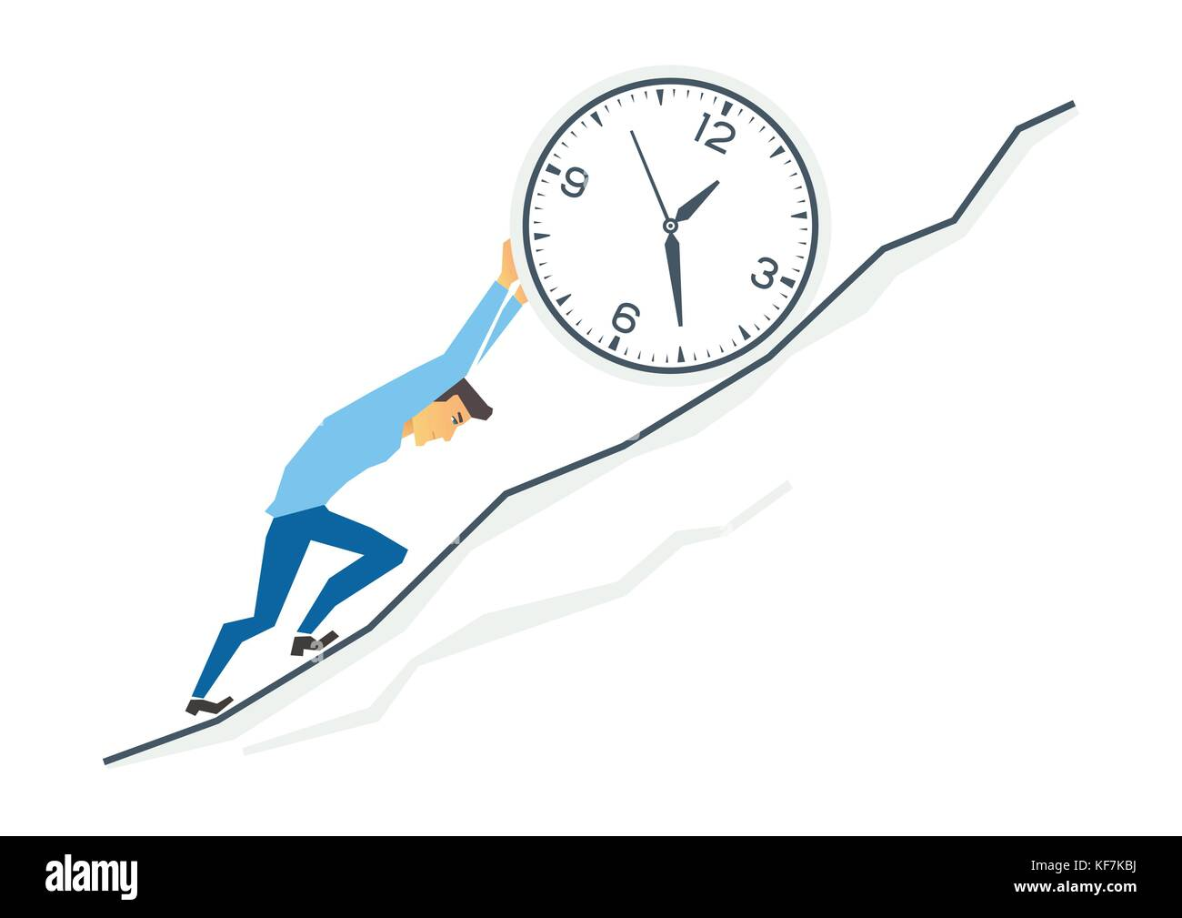Uphill work in business - modern cartoon people characters illustration - Stock Image