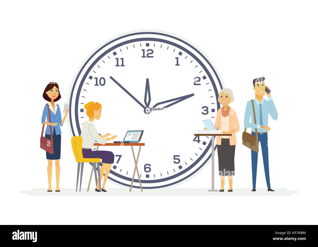 Time Management For Business Modern Cartoon People Characters Stock Vector Image Art Alamy