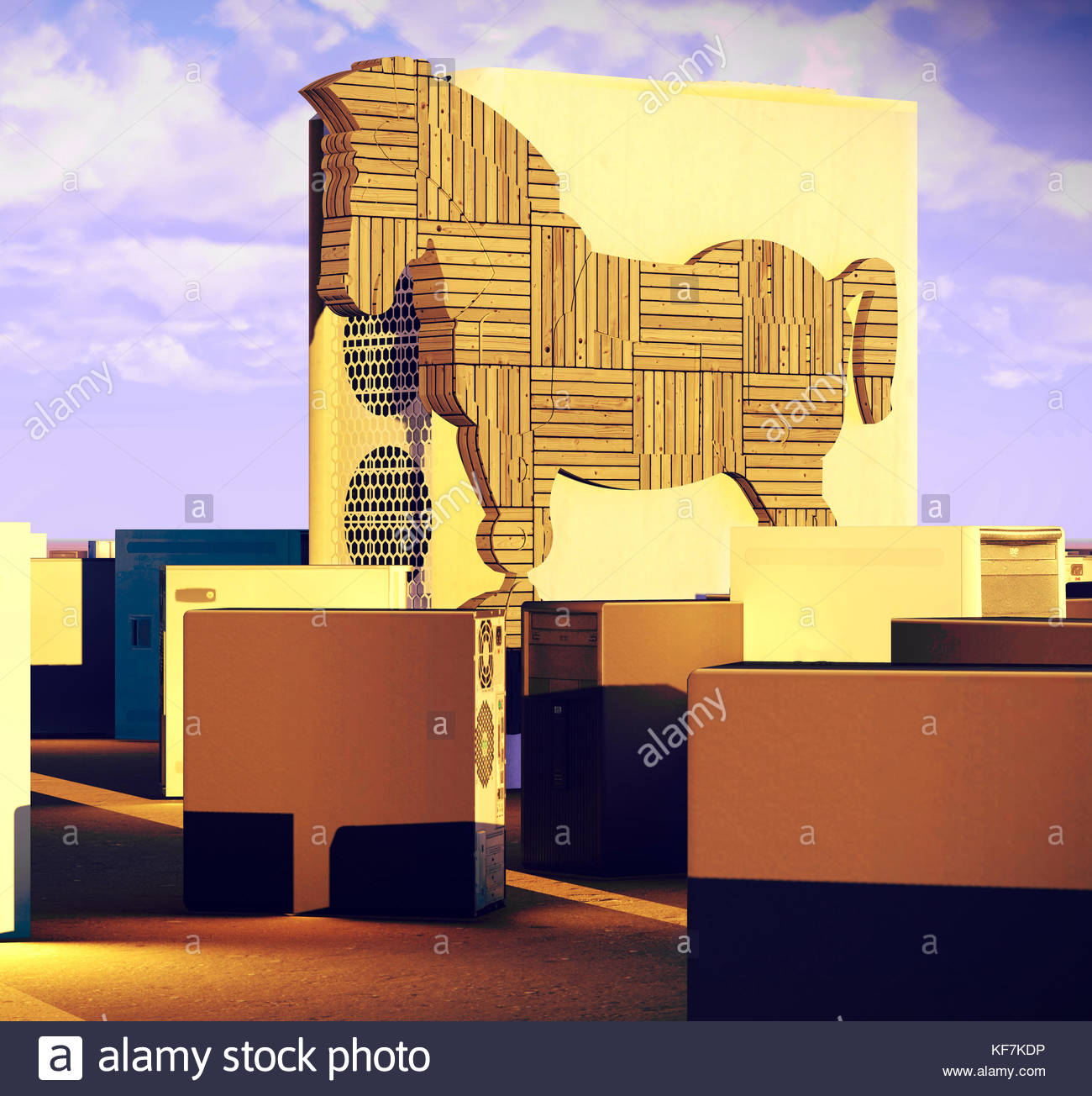 Trojan horse and computer 3d rendering - Stock Image