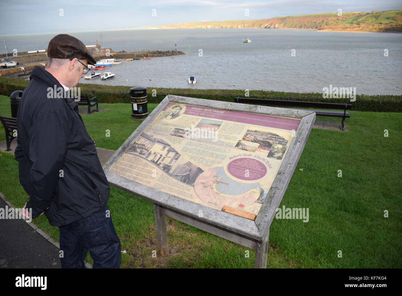 New Quay, Ceredigion, Wales. Tourist information board - Dylan Thomas wrote Under Milkwood here - Stock Image