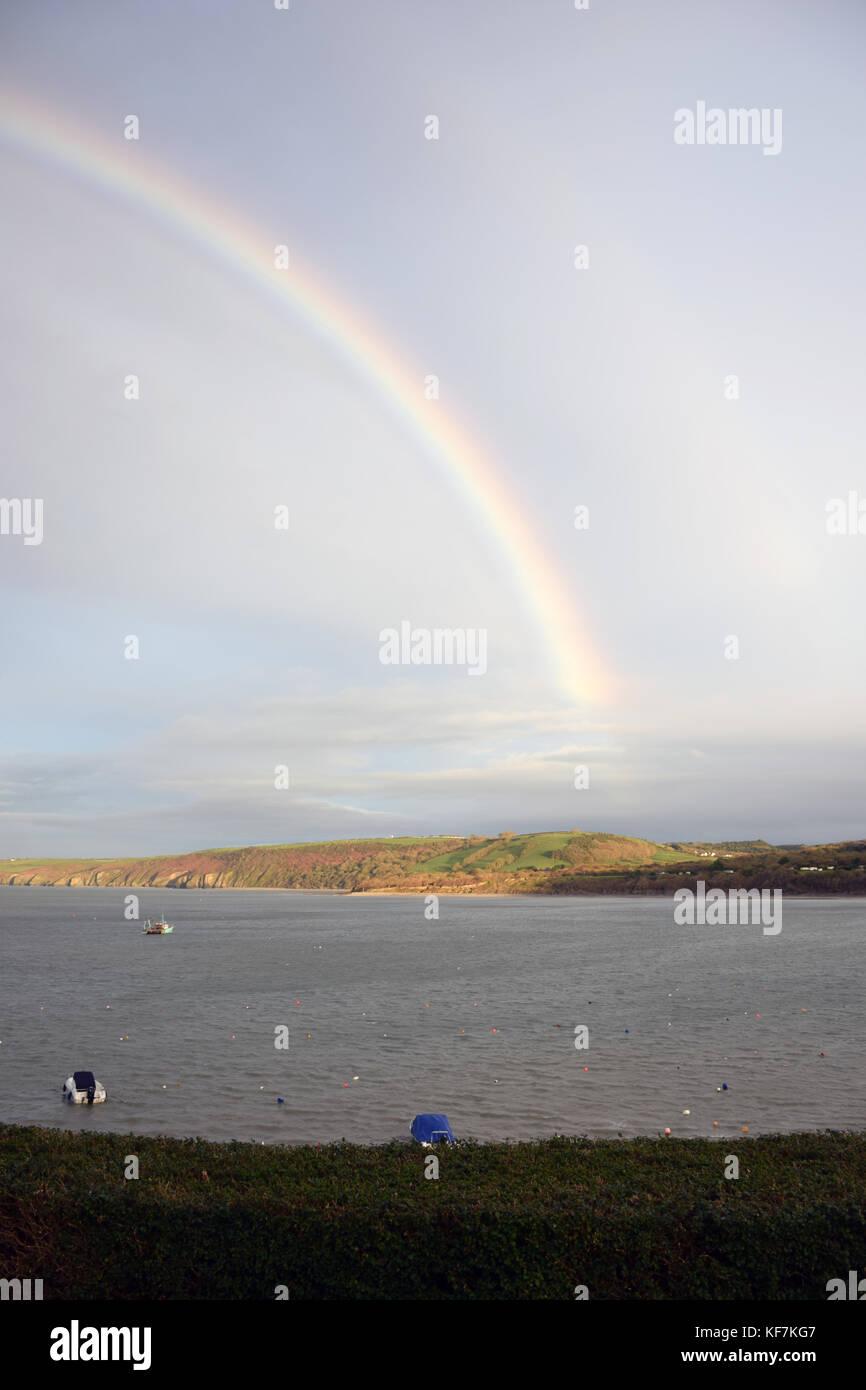 Rainbow, New Quay, Ceredigion, Wales - Stock Image