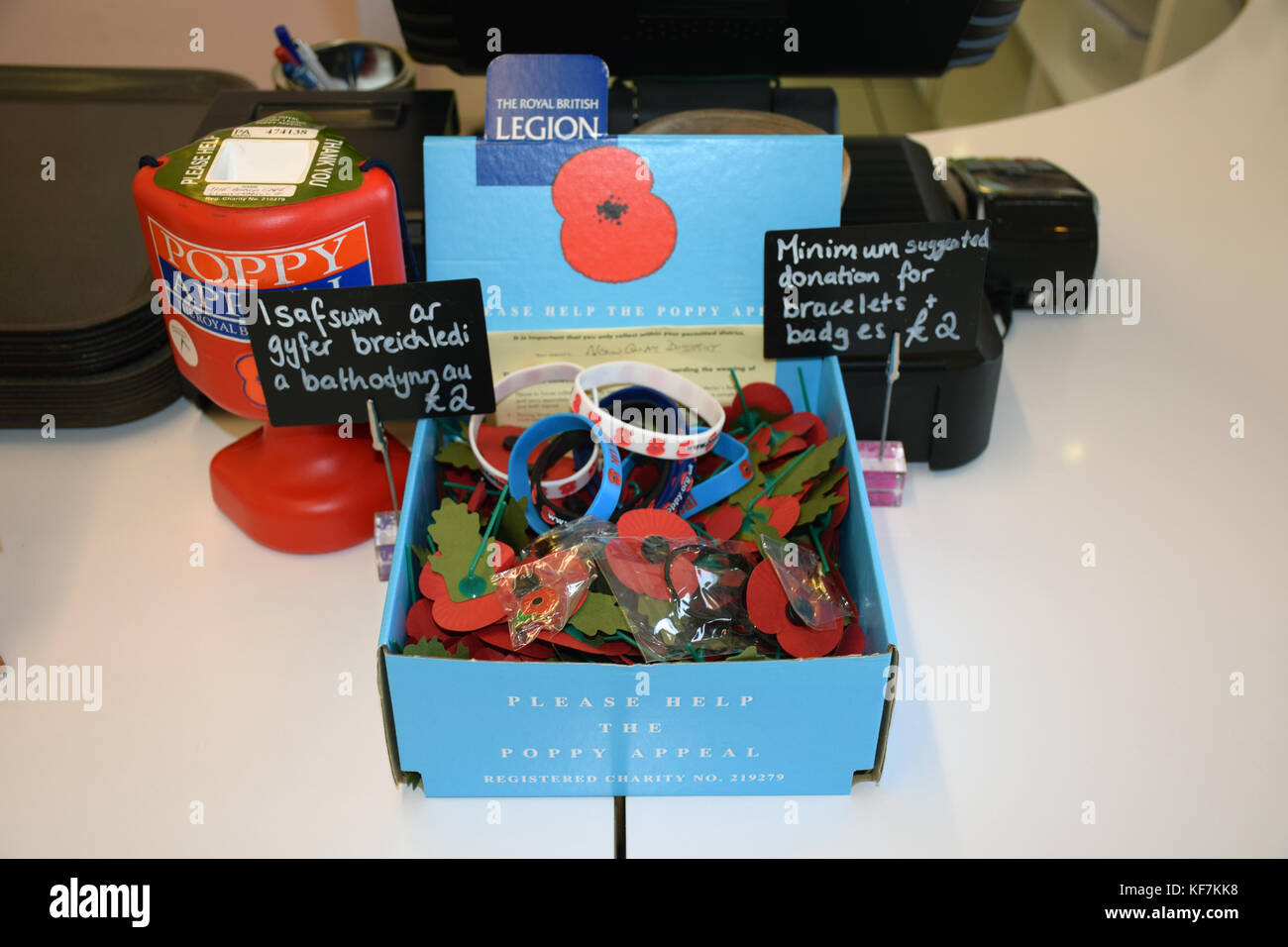 Royal British Legion poppy collection, Wales Stock Photo
