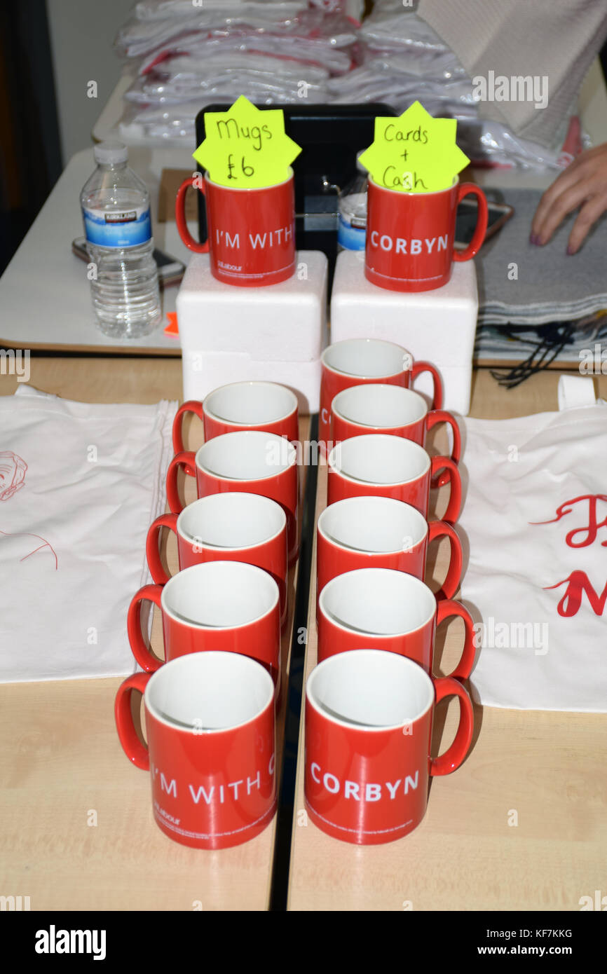 Merchandise stall at Labour Party event, Norwich October 2017 - Stock Image