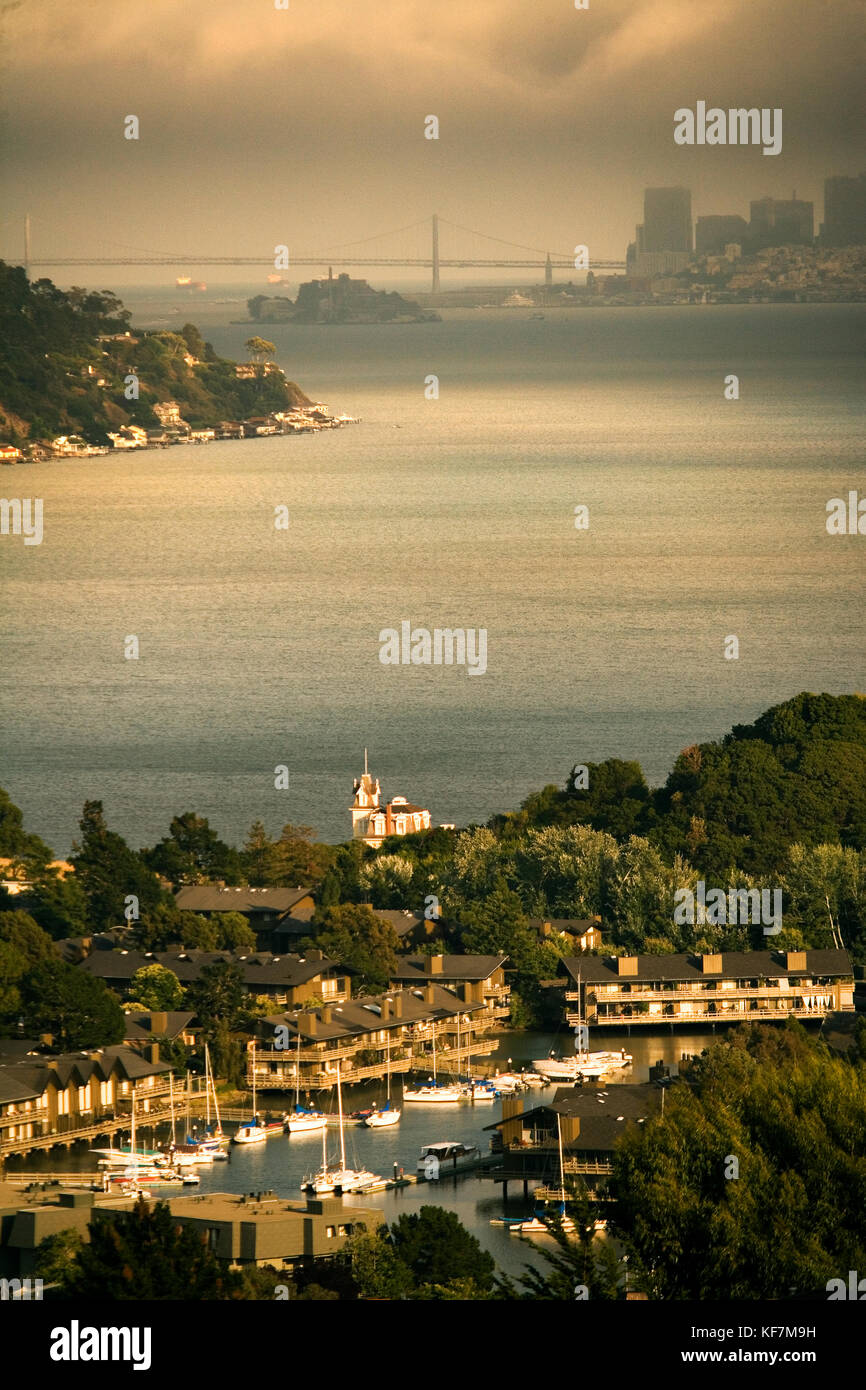 USA, California, Tiburon, Lyford House and the San Francisco Bay - Stock Image