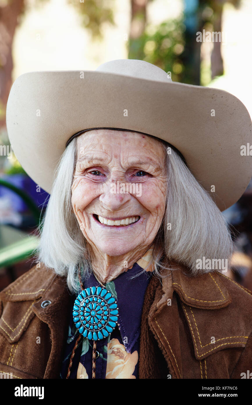 USA, California, Malibu, portrait of Mildred 'Millie' Decker at her ranch home up in the hills in Decker - Stock Image