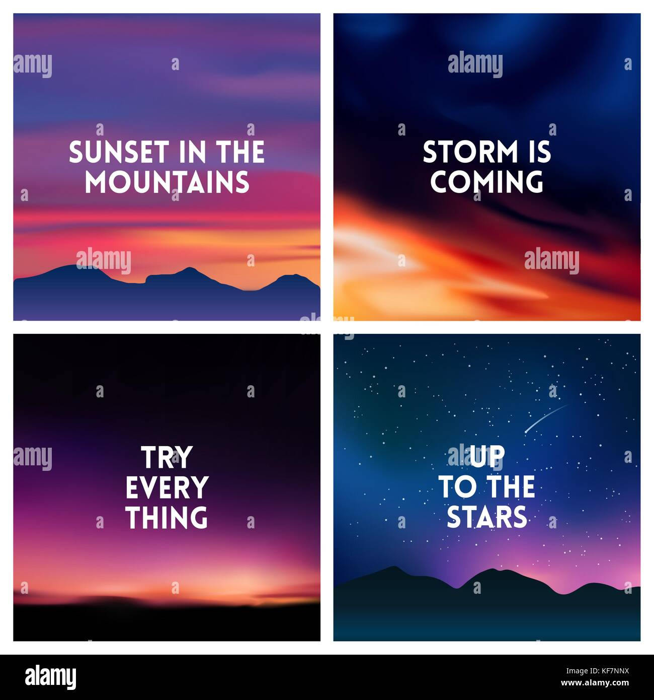 square blurred mountain background set - mountain night stars sky - Stock Vector