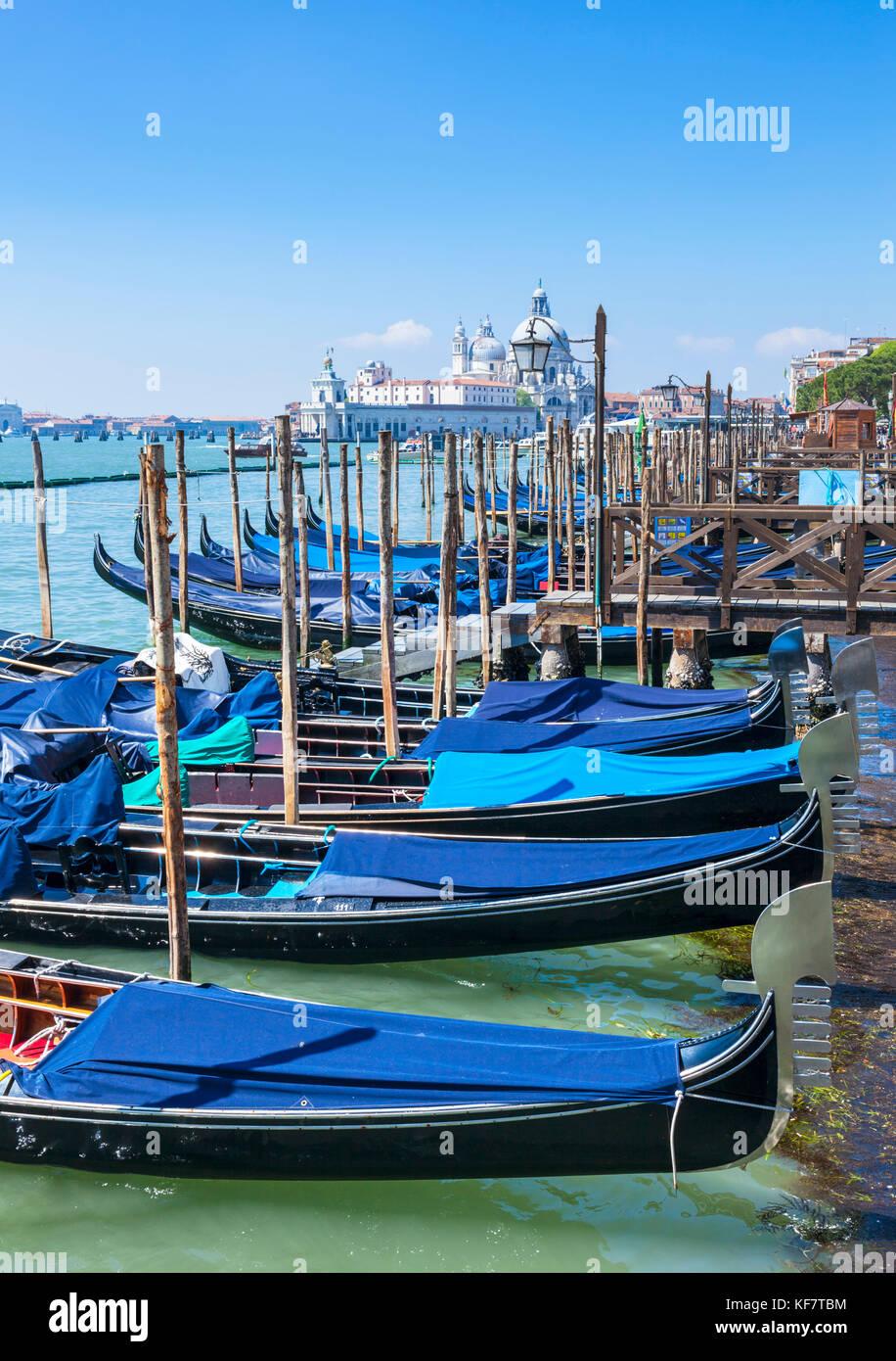 Italy venice italy moored gondolas on the Grand Canal Venice Riva degli Schiavoni Venice italy eu europe - Stock Image