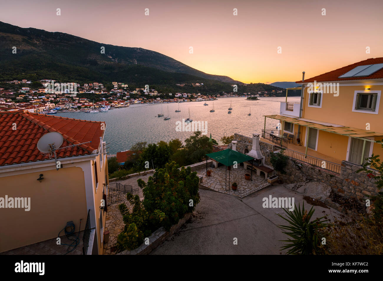 Vathy village and view of Molos Gulf in Ithaca island, Greece. - Stock Image