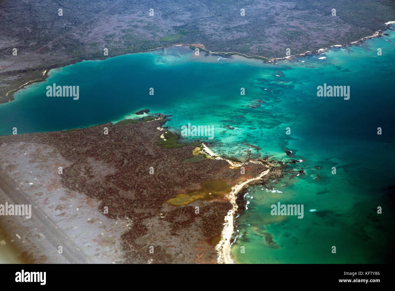 GALAPAGOS ISLANDS, ECUADOR, view from the airplane on the approach into Baltra - Stock Image