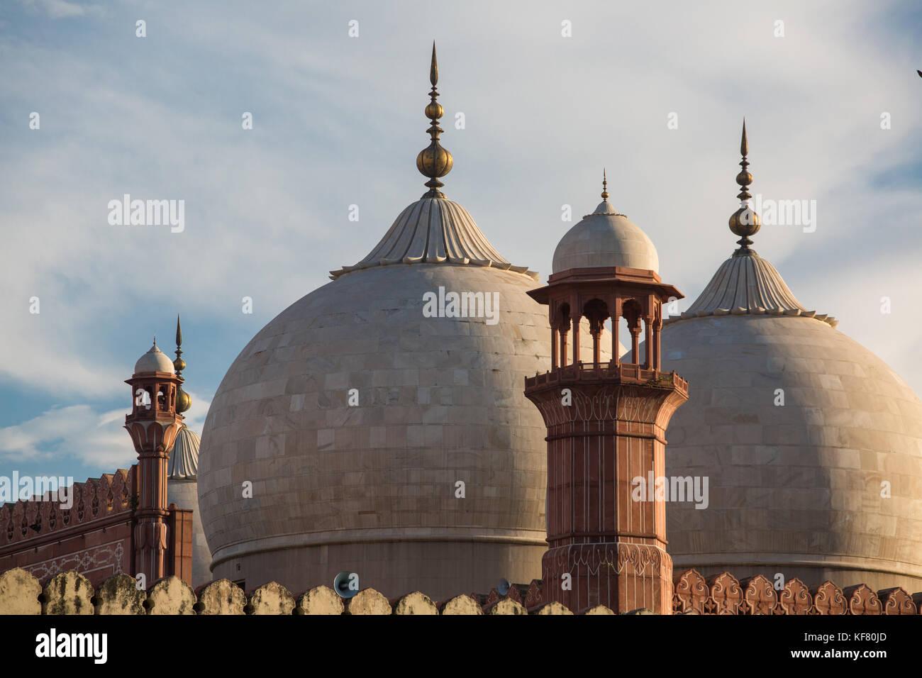 The Emperor's Mosque - Badshahi Masjid in Lahore, Pakistan Dome with Minarets Closeup - Stock Image