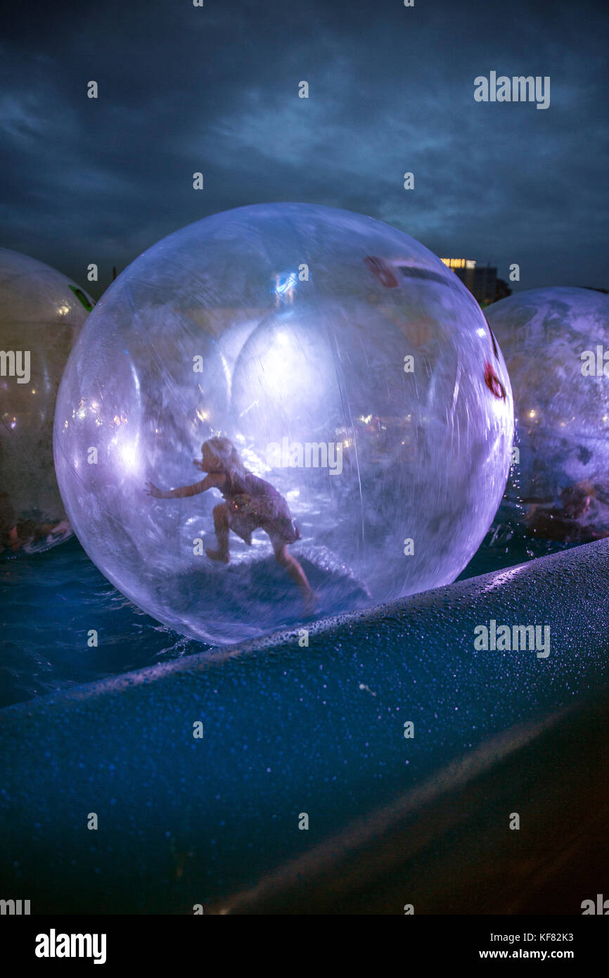 CANADA, Vancouver, British Columbia, running on water at the Asian Night Market at Magical Duck Island in Richmond - Stock Image