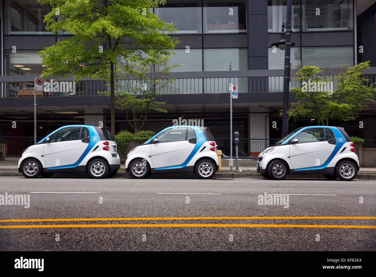 CANADA, Vancouver, British Columbia, car2go cars are parked on a ...