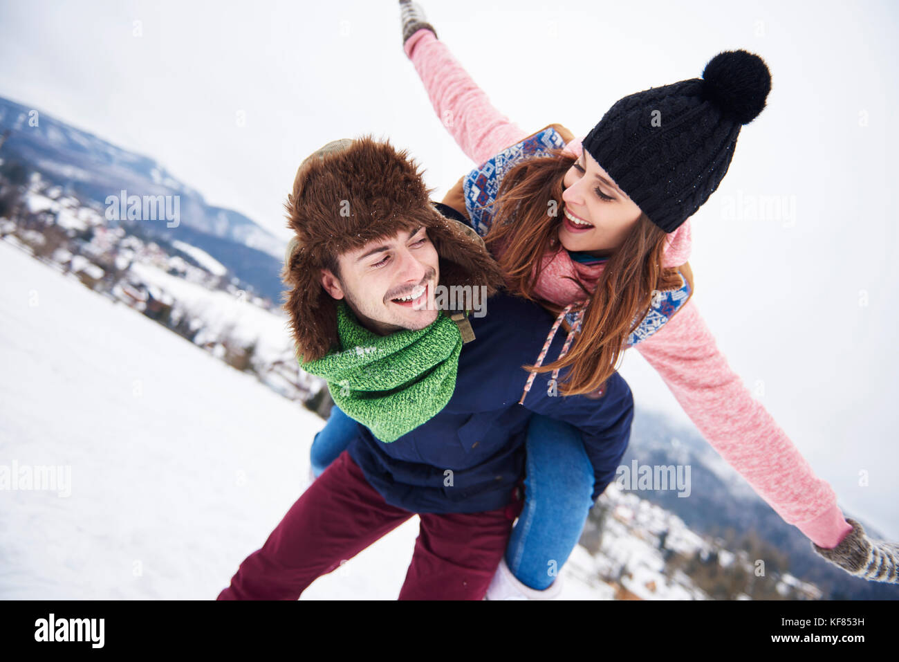 Couple having vacation in the mountains - Stock Image