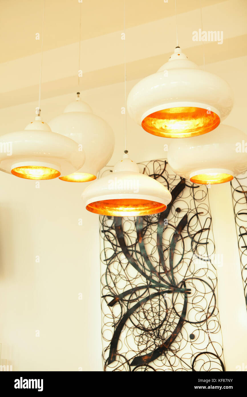 VIETNAM, Saigon, Ho Chi Minh City, ceiling lamps and wall art on ...